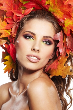 Autumn Woman. Beautiful creative makeup  photo