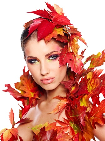 beauty woman: Autumn Woman. Beautiful creative makeup
