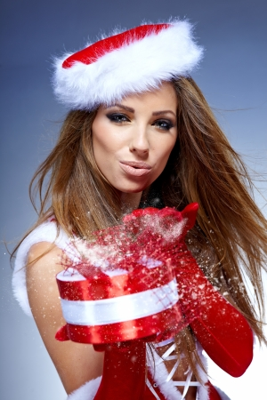 santa girl: Christmas women with gifts