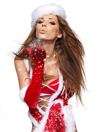 beautiful sexy girl wearing santa claus clothes with christmas gift Stock Photo - 15610588