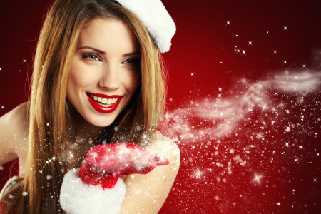 Portrait of beautiful sexy girl wearing santa claus clothes  Stock Photo - 15807030