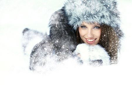 Beauty woman in the winter scenery  Stock Photo