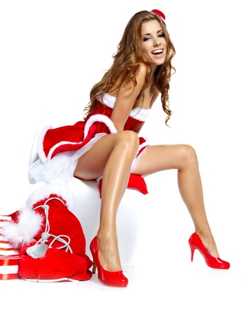 sexy fur: beautiful sexy girl wearing santa claus clothes