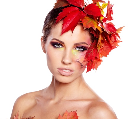 Autumn Woman  Beautiful creative makeup photo