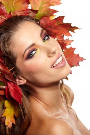 fall leaves border: Autumn woman portrait