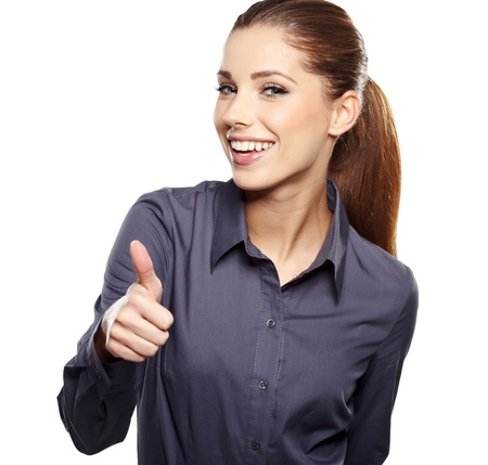 Happy smiling business woman with ok hand sign  Stock Photo - 15918547