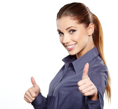 stimme: Gl�cklich l�chelnde Gesch�ftsfrau mit ok Handzeichen