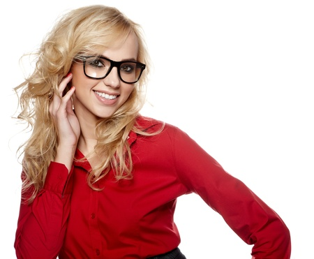 blond brown: business woman in glasses