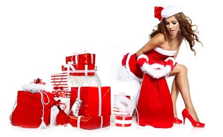 beautiful sexy girl wearing santa claus clothes Stock Photo - 16038828