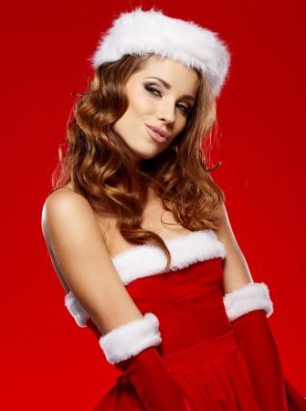 sexy santa girl: beautiful sexy girl wearing santa claus costume