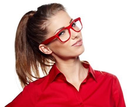 wearing glasses: Portrait of a beautiful young woman wearing glasses