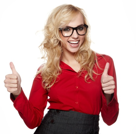 Happy smiling business woman with ok hand sign Stock Photo - 16216746