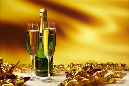 new year  s day: Champagne glasses on celebration table  Stock Photo
