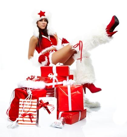 Christmas girl with gifts photo