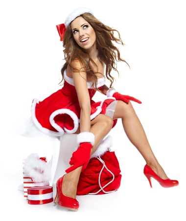 sexy girl wearing santa claus clothes  photo
