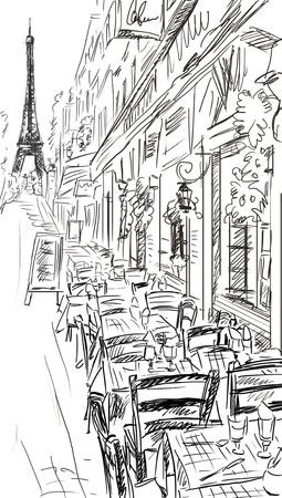 parisian: Paris street - illustration  Stock Photo