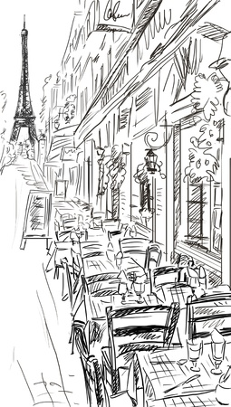 Paris street - illustration  Stock Photo