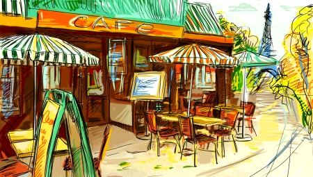 Paris street - illustration  Zdjęcie Seryjne