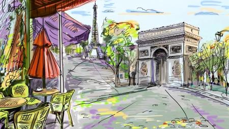 paris skyline: Paris street - illustration  Stock Photo