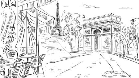 paris vintage: Calle de París - ilustración Foto de archivo