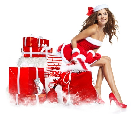 beautiful sexy girl wearing santa claus clothes Stock Photo - 16302084