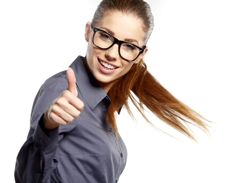 Happy smiling business woman with ok hand sign Stock Photo - 16333378