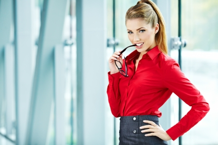 Modern business woman in the office with copy space Stock Photo - 16333374