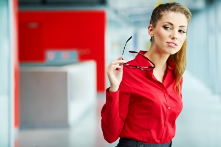 business woman in modern glass interior Stock Photo - 16333407