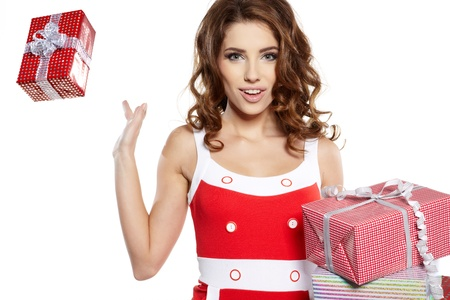 more similar images: Attractive woman with many gift boxes and bags.