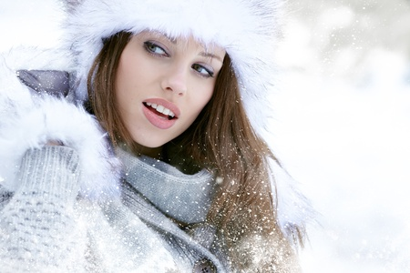 white coats: Snow winter woman portrait outdoors on snowy white winter day   Stock Photo