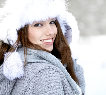 Snow winter woman portrait outdoors on snowy white winter day   Stock Photo
