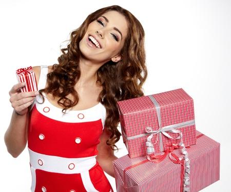 Christmas gift  Woman giving   holding christmas present