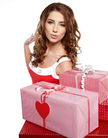 young woman with gifts  Shot in studio   photo