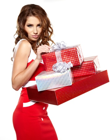 Beautiful brunette woman with a gift boxes Stock Photo - 16491097