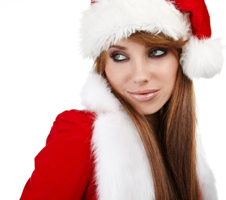 sexy santa girl: Portrait of beautiful sexy girl wearing santa claus clothes