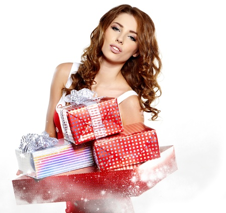 Beautiful brunette woman with a gift boxes Stock Photo - 16551773