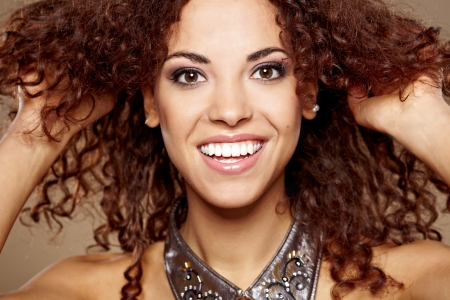 brown hair blue eyes: Beauty portrait of handsome ethnic african girl