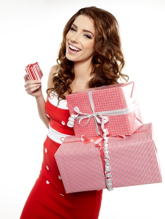 Attractive woman with many gift boxes and bags   Stock Photo - 16614404