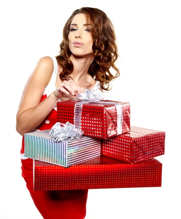 Attractive woman with many gift boxes and bags   Stock Photo - 16614403