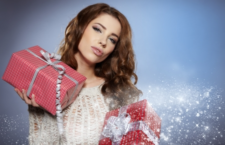women with a gift  Stock Photo - 16614419
