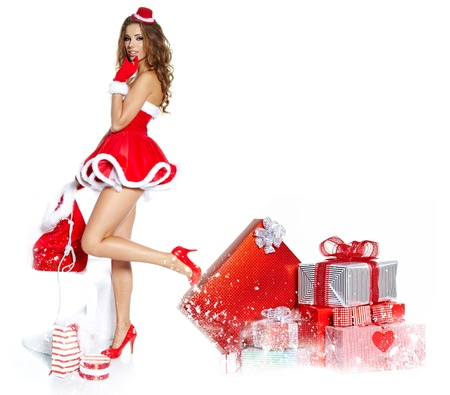 beautiful sexy girl wearing santa claus clothes  Stock Photo - 16614402