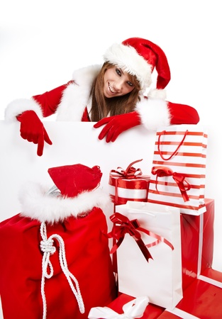 ttractive: Beautiful young woman in Santa Claus clothes  Stock Photo