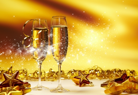Champagne glasses ready to bring in the New Year Stock Photo - 16711407