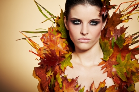 natural make up: Autumn Woman  Fall  Beautiful Stylish Girl With Professional Makeup  Stock Photo
