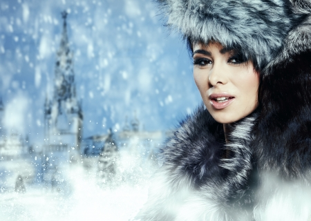 russian woman: Fur Fashion  Beautiful Girl in Fur Hat  Winter Woman Portrait  Stock Photo