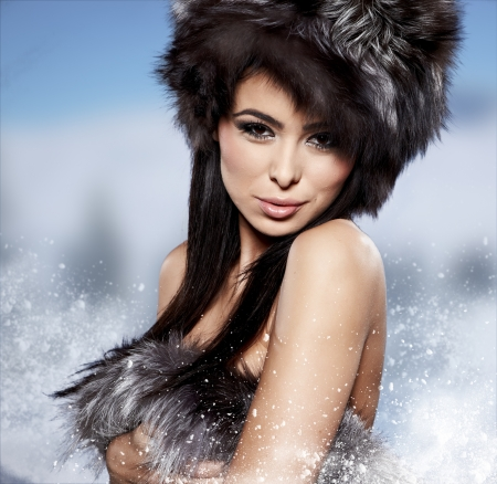 blue grey coat: Fur Fashion  Beautiful Girl in Fur Hat  Winter Woman Portrait  Stock Photo
