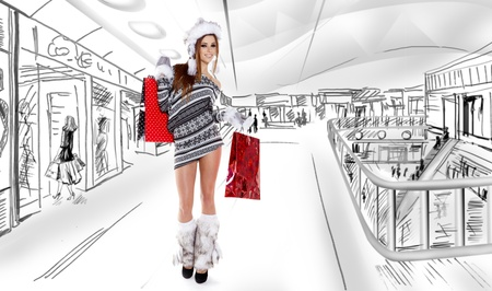shopping center: Beautiful shopping woman at a draw mall