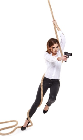 Sexy girl holding a black gun Stock Photo - 16760409