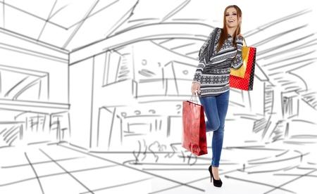 compras compulsivas: Shopping woman caminar y celebración de las bolsas - aislados en blanco