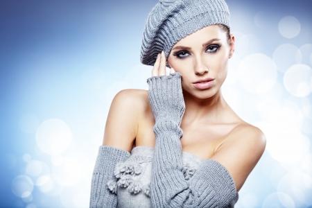 16854742: Winter studio portrait of a beautiful women